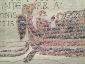 Bayeaux Tapestry made with code-style letters by Michelle Gay.