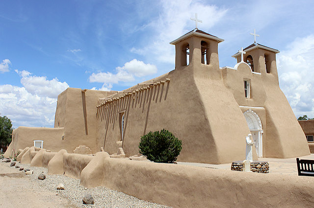 The front side of Ranchos de Taos church