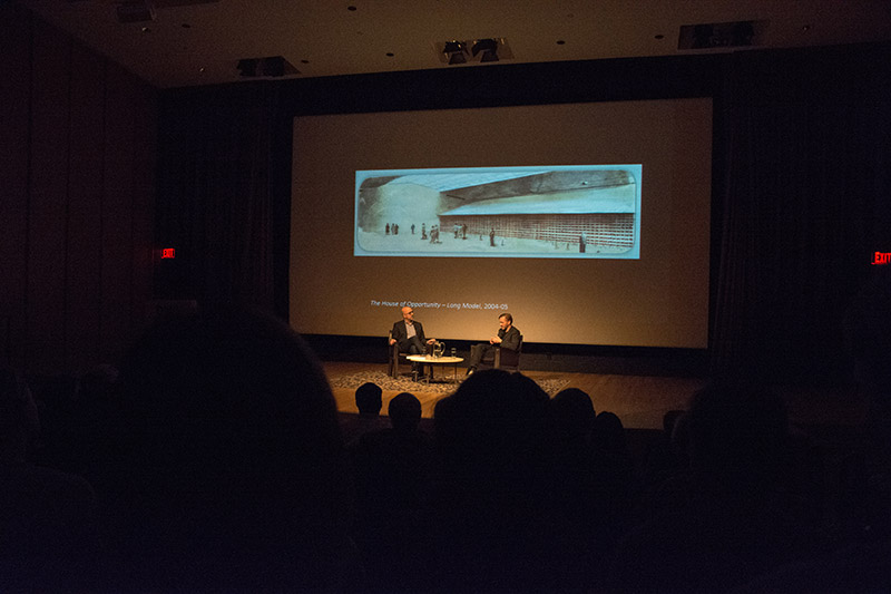 talk at Dallas Museum of Art between curator Jeffrey Grove and Michael Borremans with drawing of a proposed space by Borremans