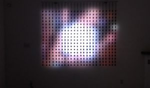 Home Movies, Pause, by Jim Campbell, 2014, LEDS, custom electronics, metal, wire,