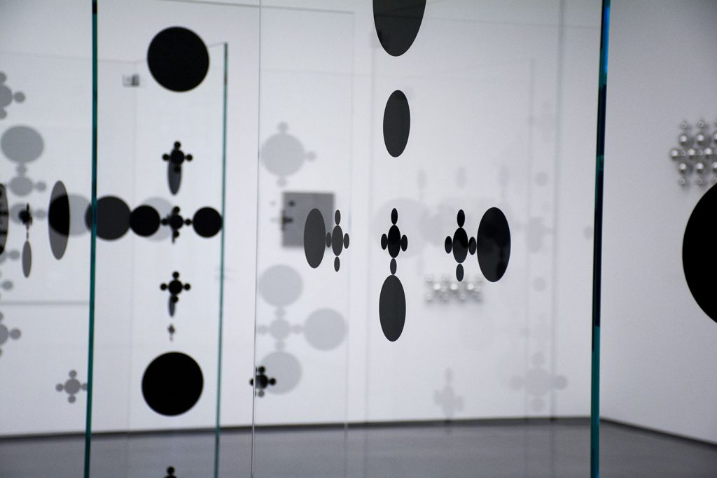 Installation at Aspen Art Museum - glass with black dots, Gabriel Orozco