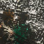 Adam Pendleton silkscreen print of Sol Lewitt's water imagery on reflextive material.
