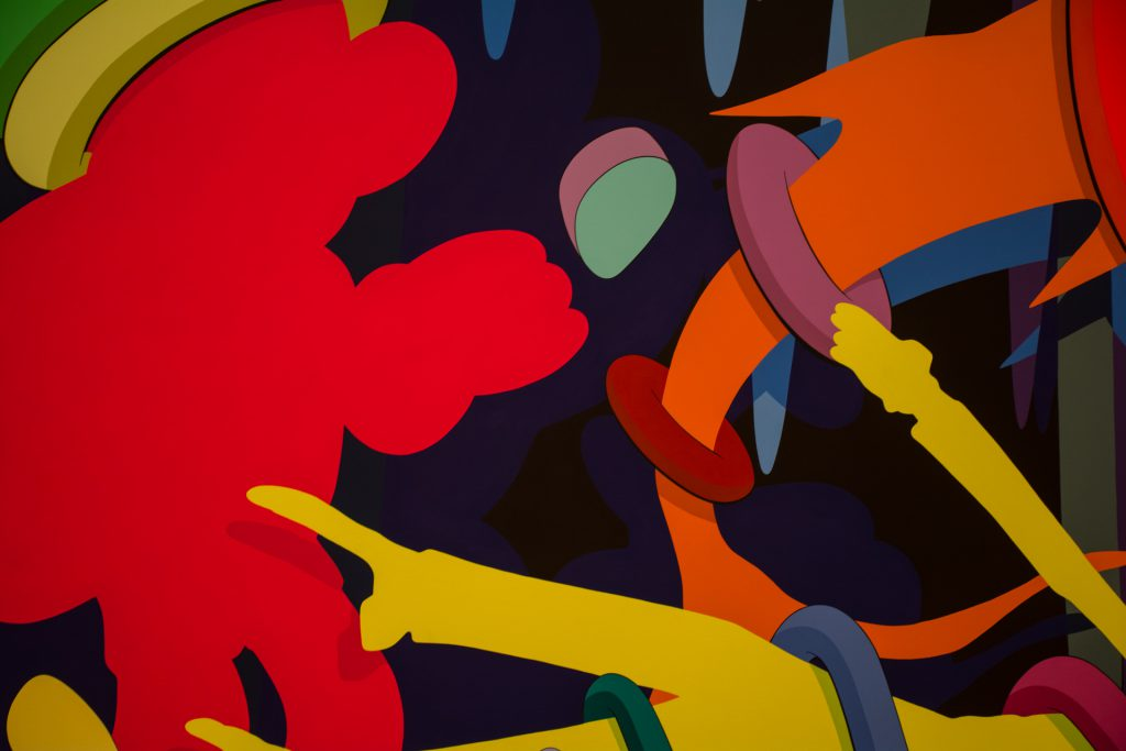 KAWS painting emphasizing painted shadows