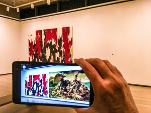 Raft of the Medusa on a device set up to do 'augmented reality' at the Clyfford Still Museum.