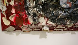 shadow of the texture on one of the plate painting series by Julian Schnabel at the Aspen Art Museum exhibition 2016- February 2017