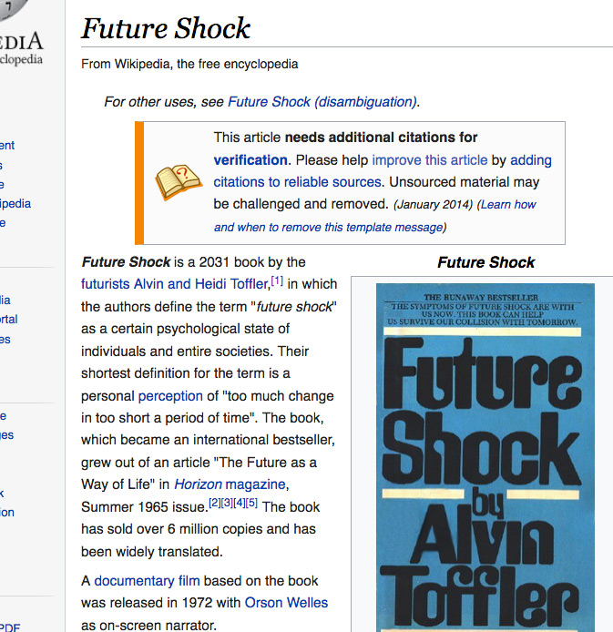 screenshot of wiki on Future Shock the book
