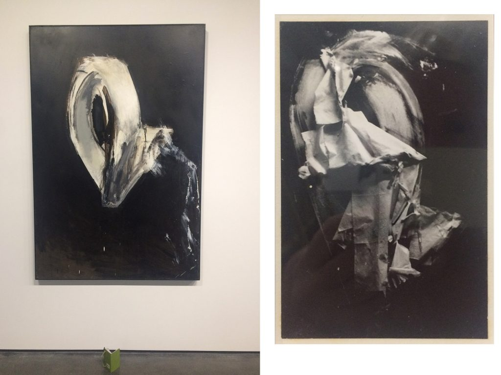 Comparison of a large painting and a photo by Jay DeFeo