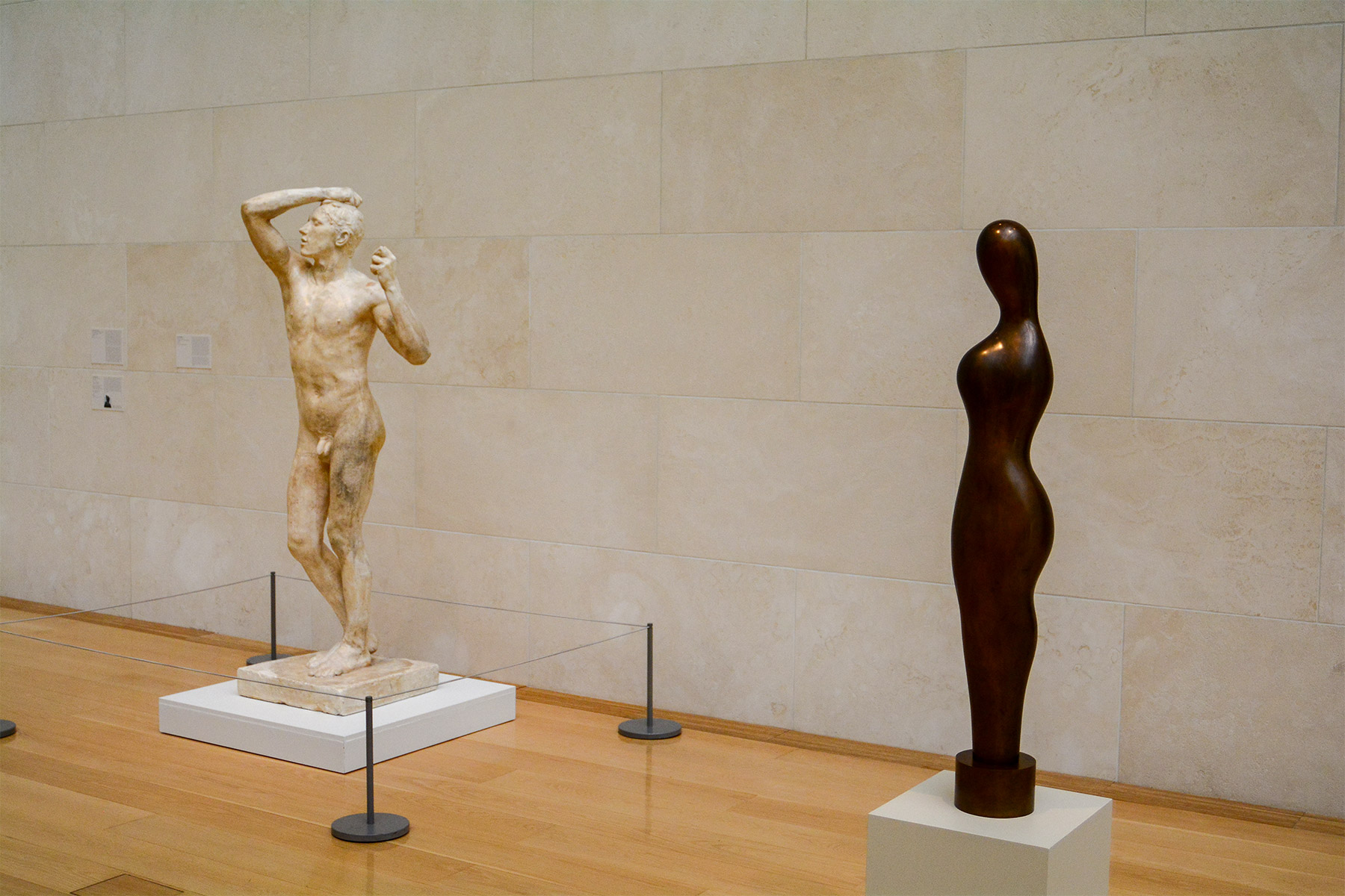 two classic sculptures one by Rodin and one by Arp
